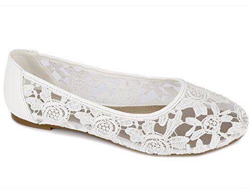 Greatonu Women Shoes Cut Out Slip On Synthetic Lace Ballet Flats (40 EU/9 US, White)