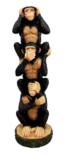 Atlantic Collectibles Stacked See Hear Speak No Evil Monk...