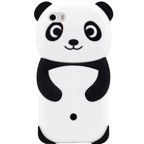 iPhone SE Case, MC Fashion Cute 3D Animal Fun Case, Shockproof and Protective Soft Silicone Case Cover for iPhone 5/5S/SE (Panda#1) 5 Silicone Silicon Case