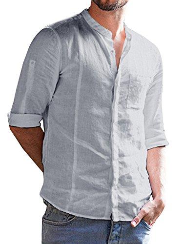 69f235ccb3 Enjoybuy Mens Cotton Linen 3/4 Long Sleeve Banded Collar Casual Shirts  Regular Fit Shirt