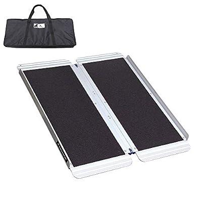 "Ruedamann 3' x 30"" Non-Skid Aluminum Folding Portable Wheelchair Ramp with Bag (MR607W-3)"