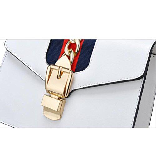 Vintage De à PU Boucle Bandoulière Main Crossbody Womens White DHFUD Sac Sac à Verrouillage TH7qF