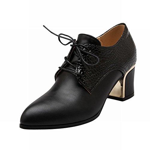 Latasa Damesmode Punt-teen Veterschoen Midden Dikke Hak Oxfords Schoenen Zwart