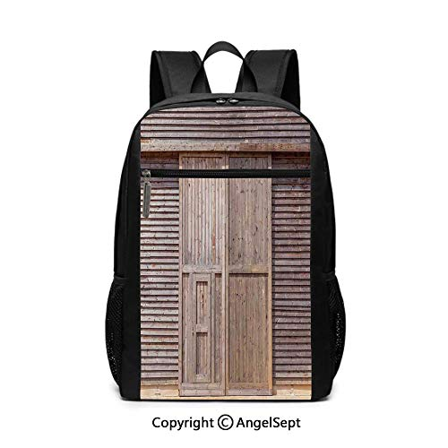 17 Inch Backpack School Bags,Old Wooden Timber Oak Barn Door Farmhouse Countryside Rural House Village Artsy Print,Brown,6.5