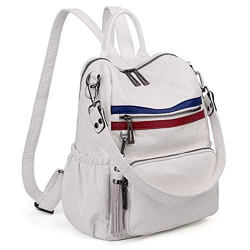 Double Zip Backpack - UTO Women Backpack Purse PU Washed Leather Convertible Ladies Rucksack Tassel Zipper Pocket Shoulder Bag White