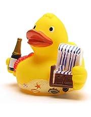 Badeente City Duck Sylt I Quietscheente I Duckshop I L: 8 cm - incl. badeend sleutelhanger in een set