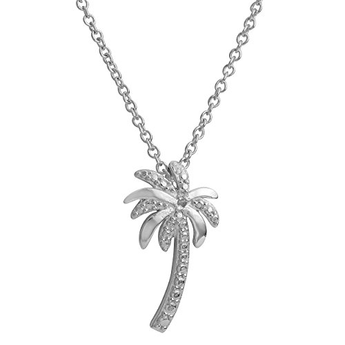Kooljewelry Sterling Silver Diamond-Accent Palm Tree Pendant Necklace (18 inch)