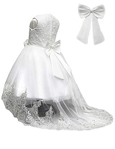 21KIDS Elegant Sleeveless Wedding Party Princess Gown Pageant Girl Long Dress,White(sleeveless),2T
