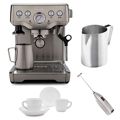 Breville BES840XL Infuser Espresso Machine + Frothing Pitcher, Tiara Cups and Knox Milk Frother