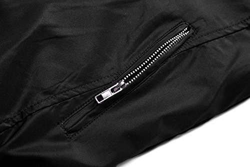 Springrain Men's Casual Stand Colar Slim Leather Sleeve Bomber Jacket (X-Large, Black)