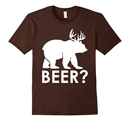 Men's Funny Beer Bear Deer Hunting T-Shirt Hiker Hunter Camping 2XL Brown (Hunter And Deer Costume)