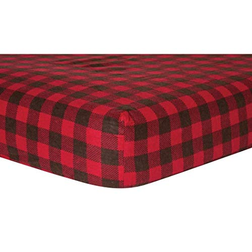 CA Beautiful Red Black Flannel Fitted Crib Sheet, Pattern Themed Nursery Bedding, Infant Child Toddler Cute Adorable Cozy Warm Checkered Red Buffalo Stylish Basic, Cotton