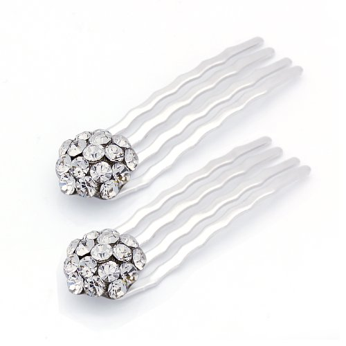 (DoubleAccent Hair Jewelry Small Simulated Crystal Cluster Mini Bridal Hair Comb Set of Two, White)