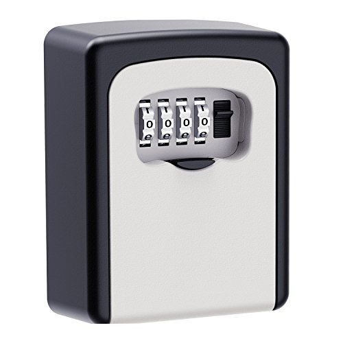 KIPRUN Key Storage Lock Box, 4-Digit Combination Lock Box, Wall Mounted Lock Box, Wall Mounted Key Safe Box/Security Key Holder/Code Storage Case/Cipher Lock Box
