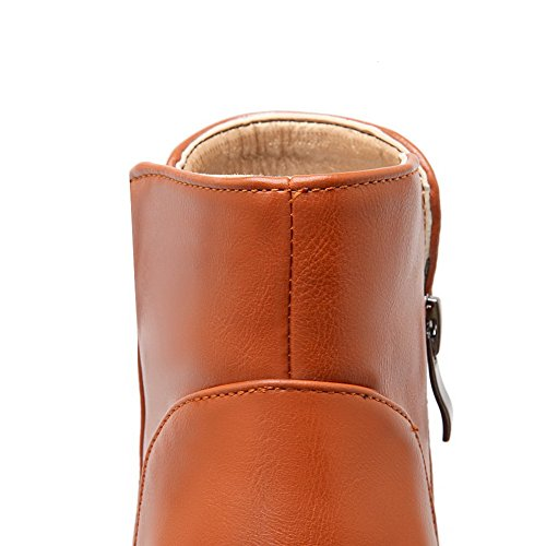 Allhqfashion Women's Kitten-Heels Solid Round Closed Toe Soft Material Zipper Boots Brown bW4FErS
