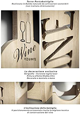 Torre botellero vino de bambú – para exhibir 3 botellas clásicas de vino – Diseño exclusivo y minimalista Excelente idea regalo Ideal para todos los ambientes