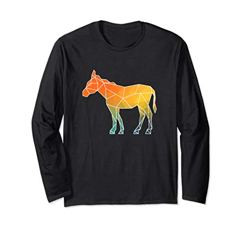 Donkey Outline Polygons Watercolor Silhouette Long Sleeve T-Shirt (Outline Donkey)