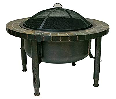 "Global Outdoors 34"" Round Slate Top Adjustable Leg Fire Pit with Spark Screen, Weather Resistant Cover and Safety Poker"