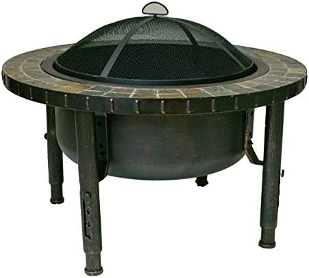 Global Outdoors 34 Round Slate Top Adjustable Leg Fire Pit with Spark Screen, Weather Resistant Cover and Safety Poker