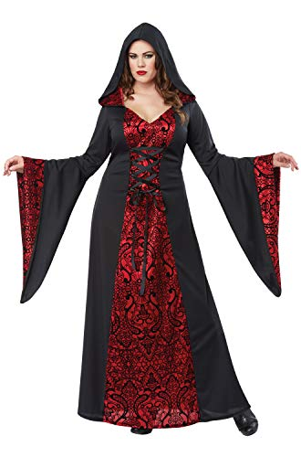 California Costumes Women's Size Gothic Robe Adult Woman Plus Costume, Black/red, 3X Large (Deluxe Vampire Costume)