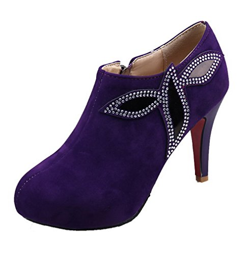 Pumps Odomolor Closed heels Round Frosted Purple Solid Zipper Toe High shoes Women's 7Rq76Hw1