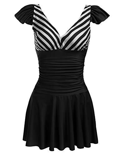 (ADOME Womens One Piece Skirted Swimsuit Retro Tankini Striped Skirtini Swimdress Swimwear Black XL)
