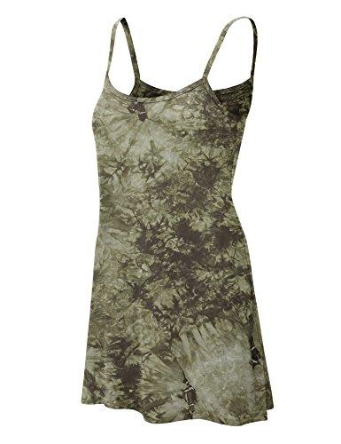 Tie Dye Camisole - Made By Johnny WDR1061 Womens Tie Dye Spaghetti Strap Tunic Mini Dress XXXL Olive