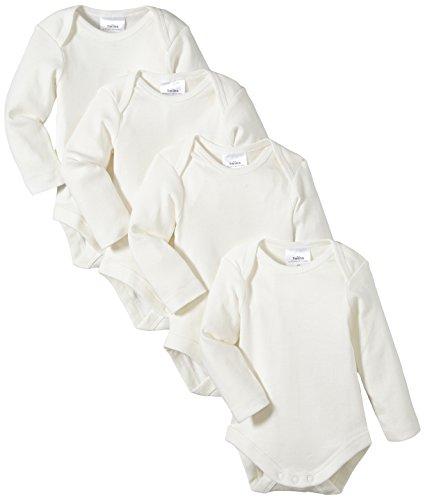 Twins Unisex Baby - Langarm-Body aus Bio Baumwolle im 4er Pack, Einfarbig, Gr. 68, Off White (snow white)