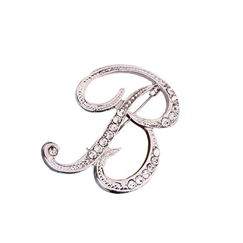 Usstore  English Letters Diamond Brooch Pin Crystal Couple Memorial Jewelry Love Gifts Birthday Present Clothes Decor (B, one Size)]()