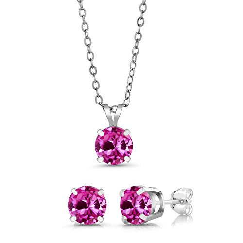 3.00 Ct 6mm Pink Created Sapphire 925 Sterling Silver Stud Pendant Earrings Set