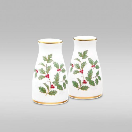 NORITAKE HOLLY & BERRY GOLD Salt & pepper 3 1/4