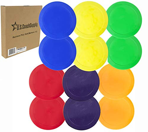 U.S. Coach Supply Rainbow Poly Spot Markers - 12 Pack ()