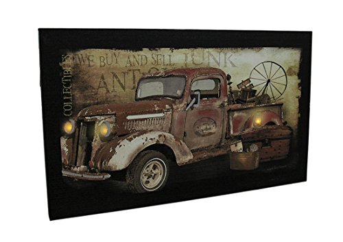 Canvas Prints Hauling Treasures Antique Truck Led Lighted Canvas Print 20 X 12 Inch 20 X 12 X 1 Inches Black (Poster Antique Treasures Bed)