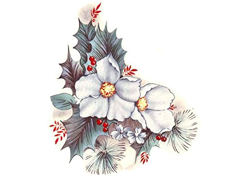 """1310 Christmas White Poinsettia Waterslide Ceramic Decals By The Sheet (5 3/4"""" 5 pcs)"""