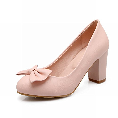 Carolbar Grace Womens Sweet Bows Polsini Ed Eleganti Abiti Da Sposa Tacco Alto Chunky Pumps Pompe Rosa
