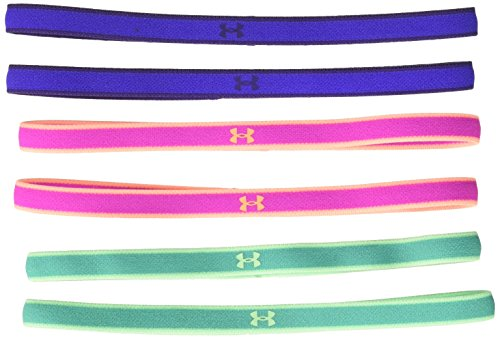 Under Armour Girls' Mini Headbands - 6 Pack ,Green Malachite (349)/Green Typhoon, One Size