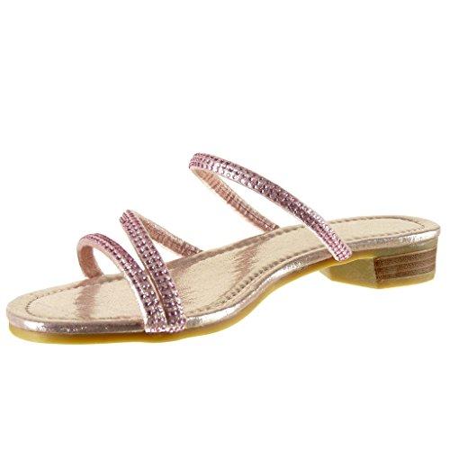 2 Donna Multi 5 Scarpe Cm Moda Strass Blocco Lucide Slip Angkorly Metallico briglia Tacco A Rosa on Sandali fYqnx6B