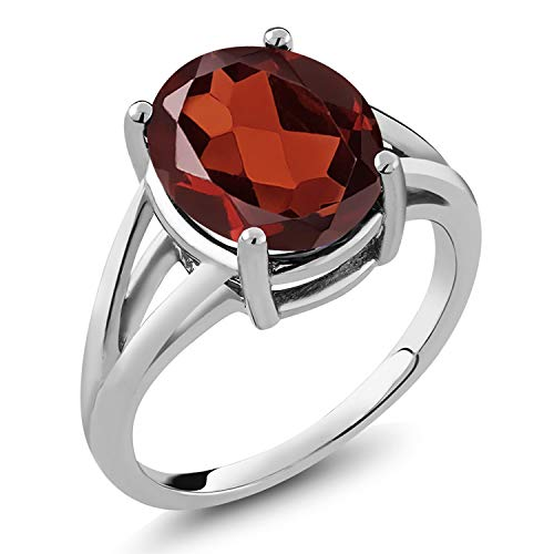 - Red Garnet 925 Sterling Silver Women's Solitaire Ring 5.60 Ct Oval 12x10mm Oval (Size 7)