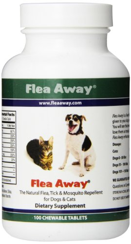 Flea Away The Natural Flea, Tick, And Mosquito Repellent for Dogs and Cats - 100 Chewable Tablets
