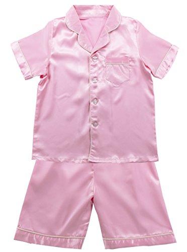 JOYTTON Kids Satin Pajamas Set PJS Short Sleeve Sleepwear Loungewear Pink Satin Girls Pajamas