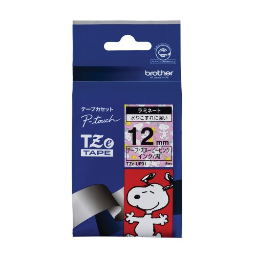 Brother TZe tape tape Snoopy (Snoopy pink / black) 12mm TZe-UP31 (japan import)