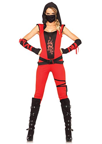Leg Avenue Women's Ninja Assassin Costume, Red/Black, (Sexy Assassins Creed Costumes)