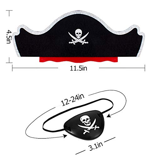Alphatool 12 Pcs Skull Print Pirate Hat Eye Patches Set, 6 Pieces Caribbean Pirate Captain Hat and 6 - http://coolthings.us