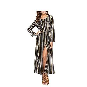 DraFenn Chiffon Maxi Dresses Women Striped Long Sleeve Split OL Office Dress Round Neck