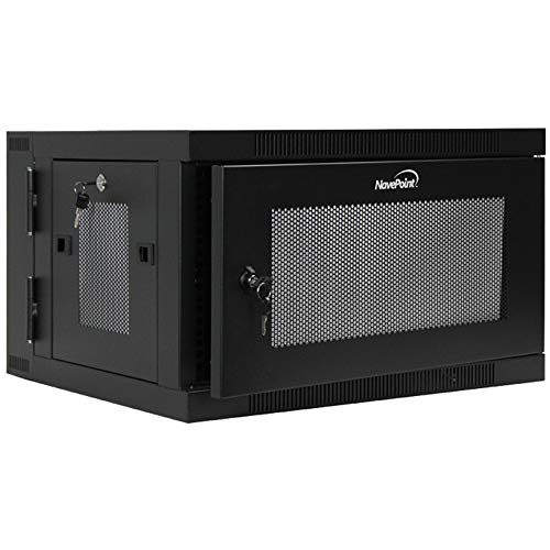 (NavePoint 6U Wall Mount Hinged Swing Out Perforated IT Server Network Rack Cabinet Lock)