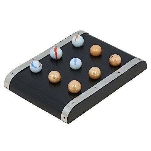 Handmade Wood and Brass Tic Tac Toe Travel Game with Marbles - Games for (Extra Large Marble)