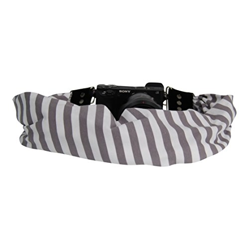 Scarf Camera Strap with Hidden Pocket (Stripe Grey)