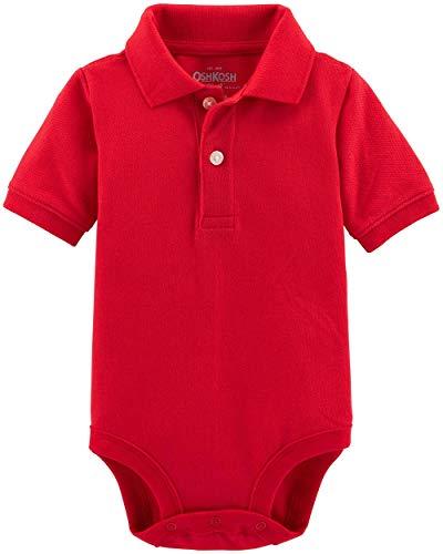 (OshKosh B'Gosh Baby Boys' Pique Polo Bodysuit (Crimson, 6-9 Months))