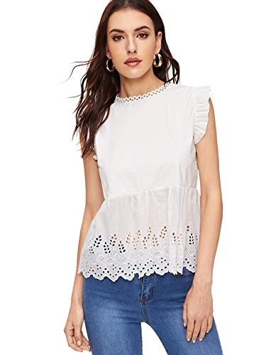 (SheIn Women's Summer Cute Cutout Embroidered Ruffle Blouse Workwear Peplum Top X-Large White)