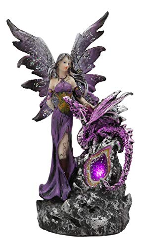 (Ebros Beautiful Purple Fairy with Dragon Sitting On LED Crystal Geode Night Light Statue Decorative Mythical Fantasy Forest Magic Figurine Collectible Medieval Fairies Dungeons and Dragons Decor)